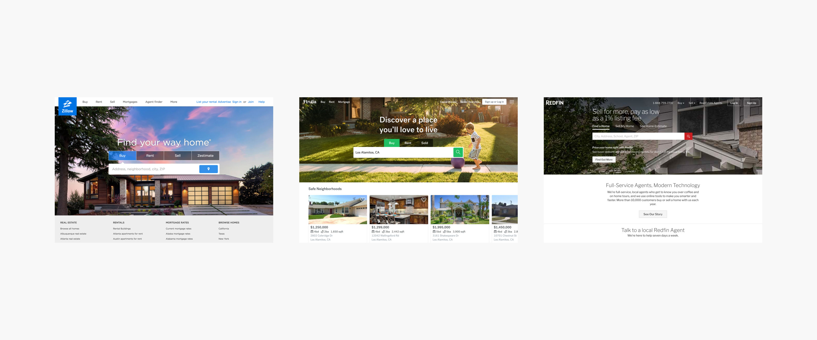 Landing pages of Zillow, Trulia, and Redfin