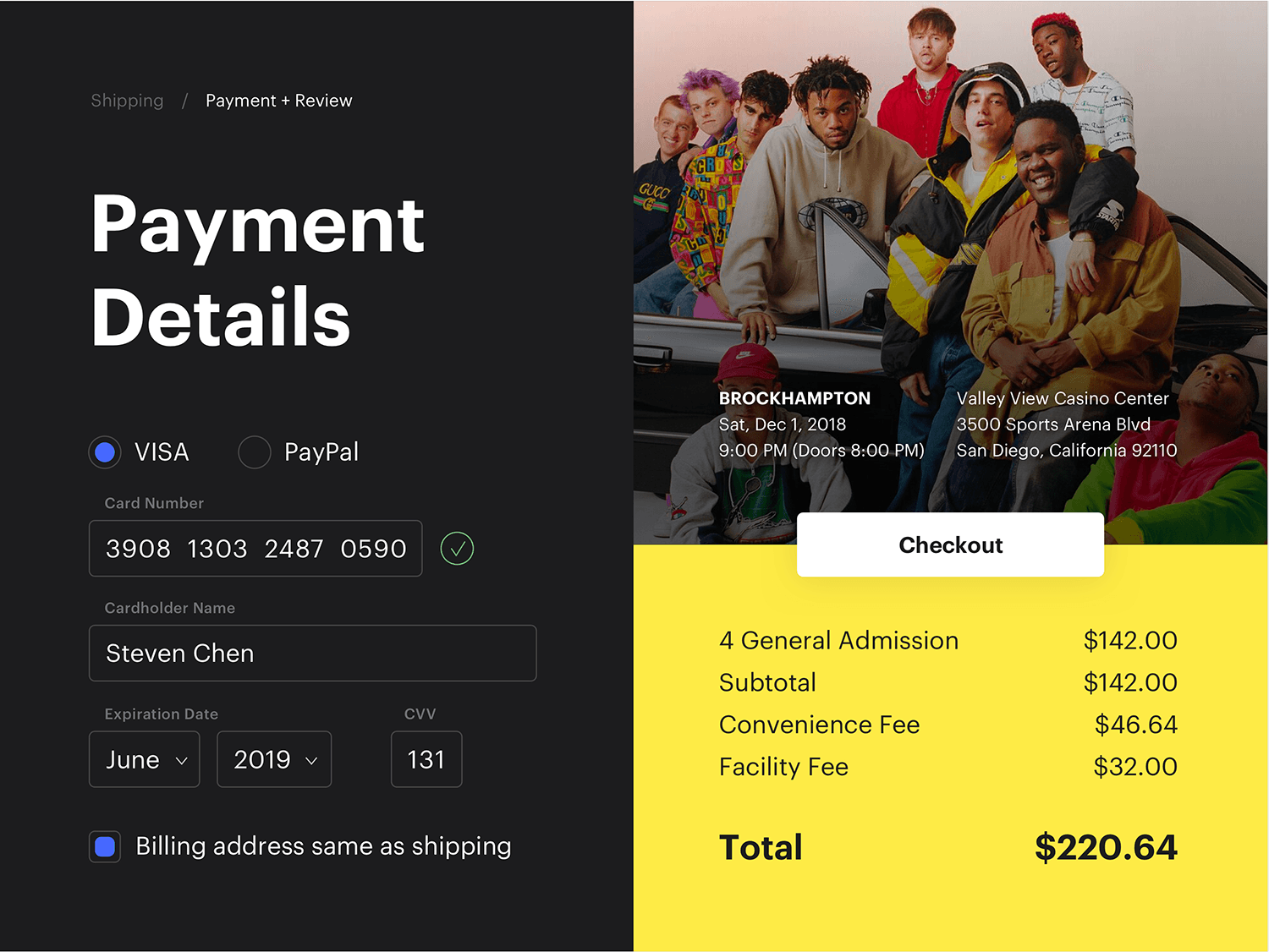 Daily UI #002: concert tickets payment